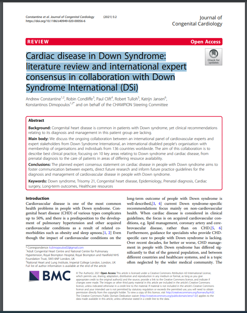Cardiac disease in Down Syndrome: literature review and international expert consensus in collaboration with Down Syndrome International (DSi)
